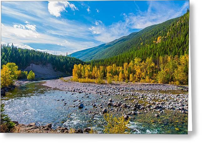 Fall Colors At Glacier National Park Greeting Card by Rohit Nair
