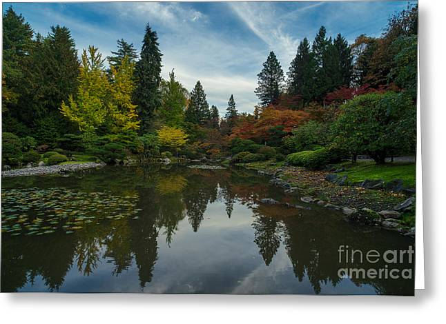 Fall Colors Japanese Garden Serenity Greeting Card by Mike Reid