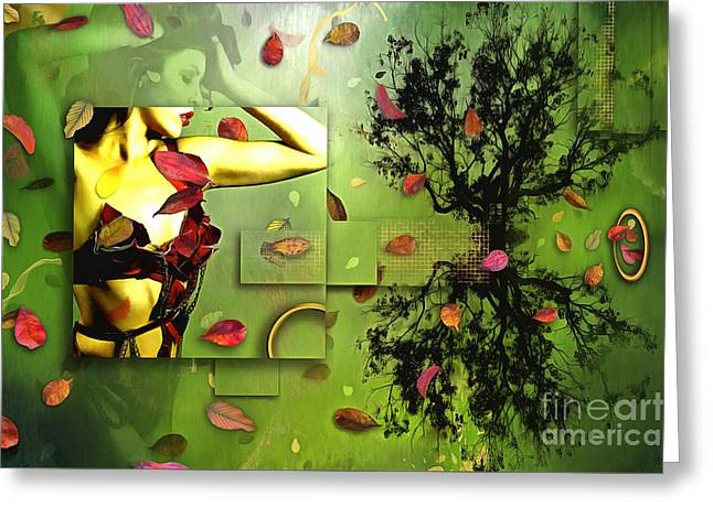 Greeting Card featuring the digital art Fall Colors by Nola Lee Kelsey