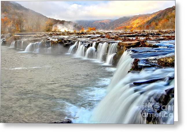 Fall Colors Over Sandstone Falls Greeting Card by Adam Jewell