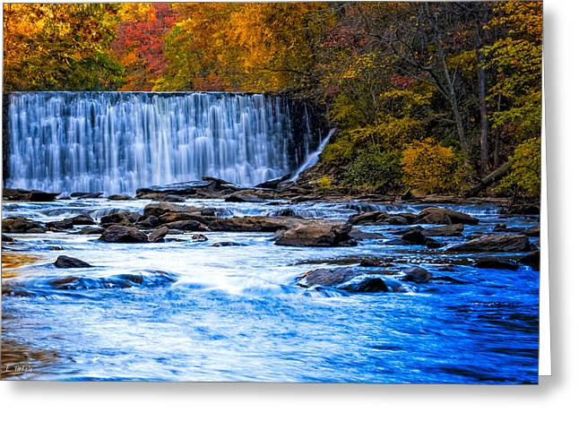 Fall Comes To Vickery Creek In Roswell Greeting Card by Mark E Tisdale