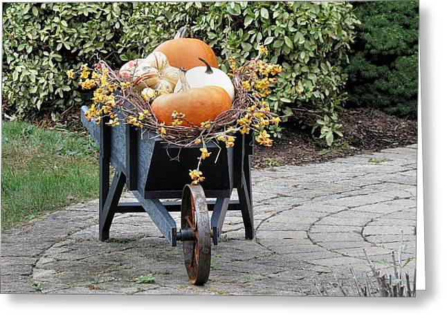 Fall Decorated Wheelbarrow  Greeting Card