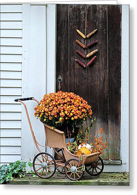 Fall Decorative Front Door Greeting Card by Janice Drew