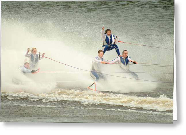 Fall During Waterskiing Greeting Card by Devinder Sangha