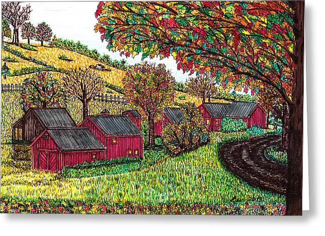 Fall Farm Scene Greeting Card