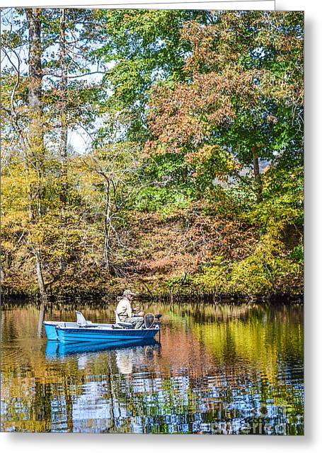 Greeting Card featuring the photograph Fishing Reflection by Debbie Green