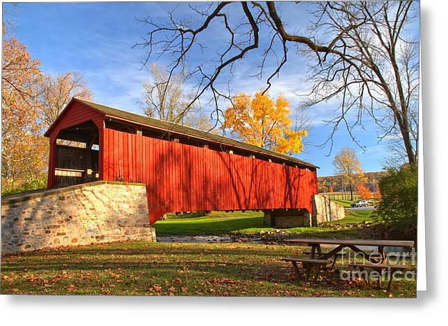 Fall Foliage At The Poole Forge Covered Bridge Greeting Card by Adam Jewell