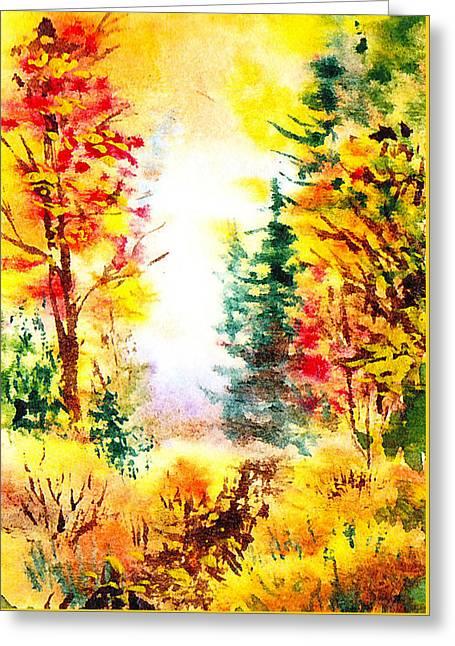 Fall Forest Greeting Card by Irina Sztukowski