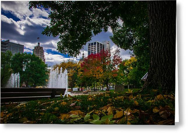 Fall Fort Wayne Skyline Greeting Card by Gene Sherrill