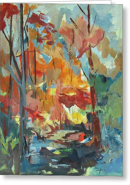 Greeting Card featuring the painting Fall From My Window by Betty Pieper