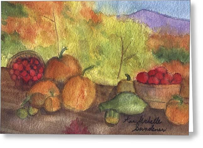 Fall Harvest Greeting Card by Ann Michelle Swadener