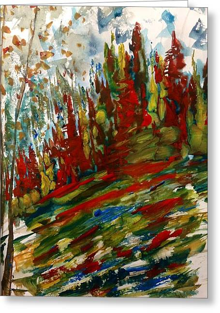 Fall Hillside In Abstract Greeting Card