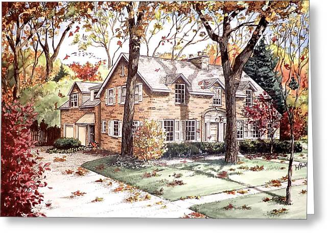 Fall Home Portriat Greeting Card