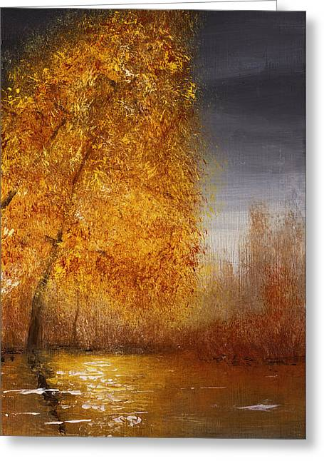 Fall Lake Reflections Greeting Card by Gray  Artus