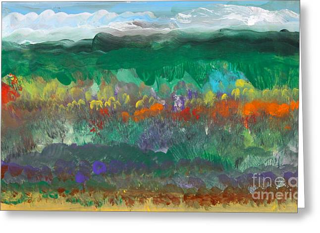 Fall Landscape Abstract Greeting Card by Anne Cameron Cutri