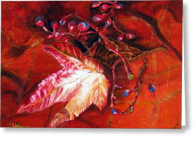 Greeting Card featuring the painting Fall Leaf And Berries by LaVonne Hand