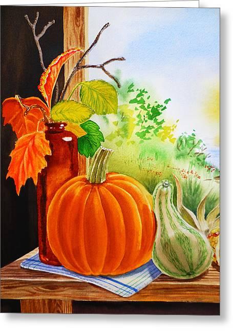Fall Leaves Pumpkin Gourd Greeting Card by Irina Sztukowski