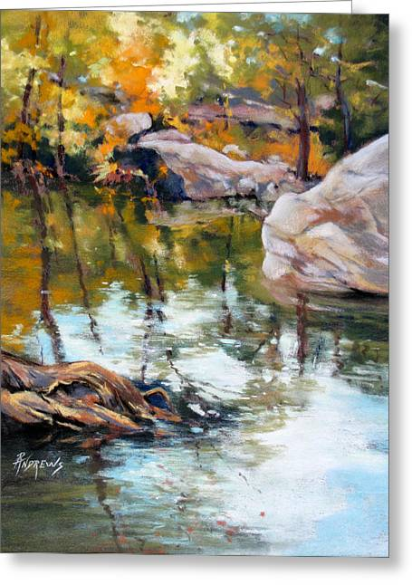 Fall Mirror Greeting Card by Rae Andrews