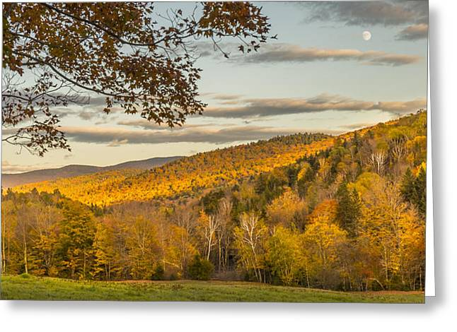 Fall Moon Nearing Sunset Greeting Card
