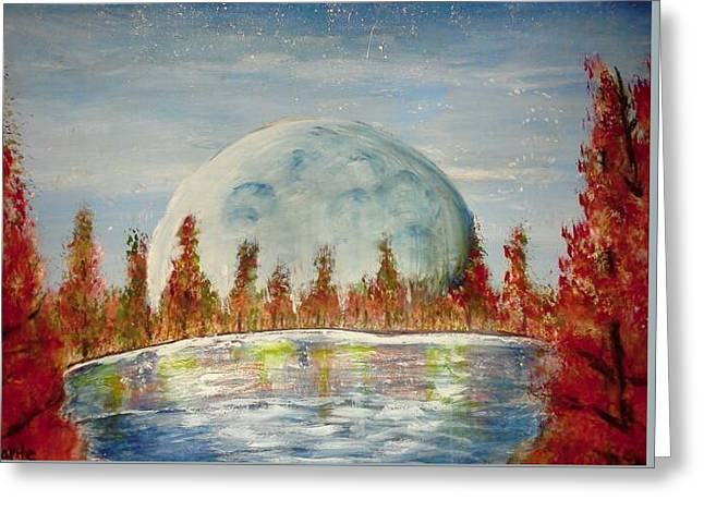 Greeting Card featuring the painting Fall Moon Rising by Carol Duarte