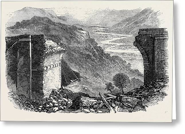 Fall Of A Viaduct On The Great Indian Peninsular Railway Greeting Card by Indian School