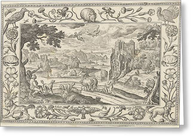 Fall Of Icarus, Adriaen Collaert Greeting Card