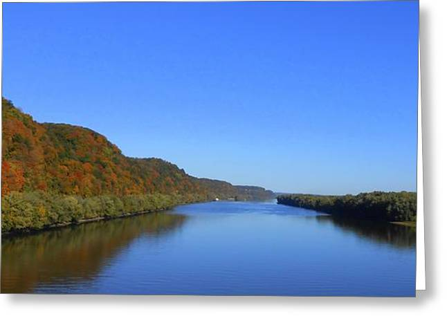 Fall On The Mississippi River  Greeting Card by Dina Stillwell