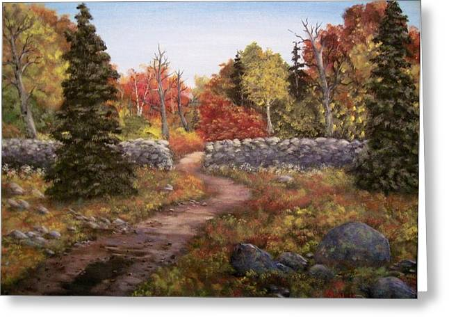 Greeting Card featuring the painting Fall Path by Megan Walsh