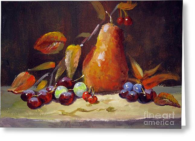 Greeting Card featuring the painting Fall Pear by Carol Hart