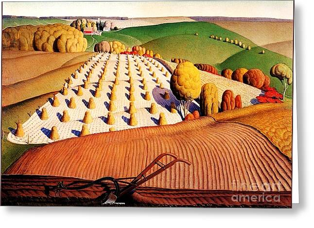 Fall Plowing Greeting Card by Pg Reproductions