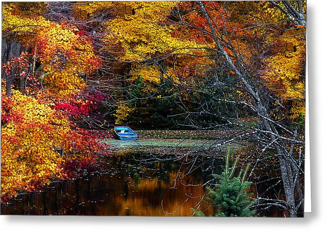 Fall Pond And Boat Greeting Card