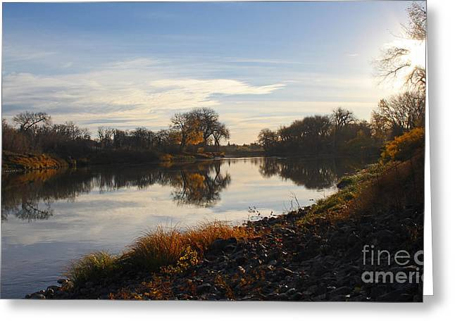 Greeting Card featuring the photograph Fall Red River At Sunrise by Steve Augustin