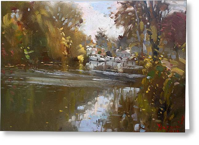 Fall Reflections At North Tonawanda Canal Greeting Card by Ylli Haruni