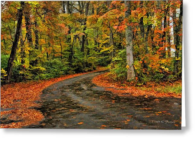 Fall Road To Glory Greeting Card by Kenny Francis