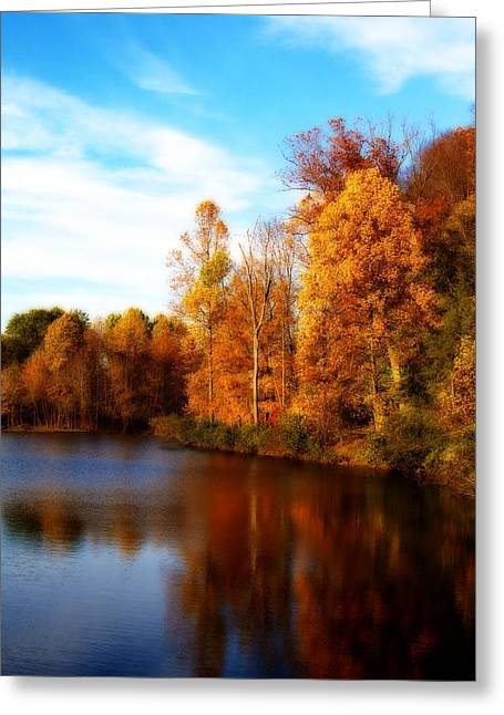 Greeting Card featuring the photograph Fall Scene At Hedden Pond With Orton Effect by Eleanor Abramson