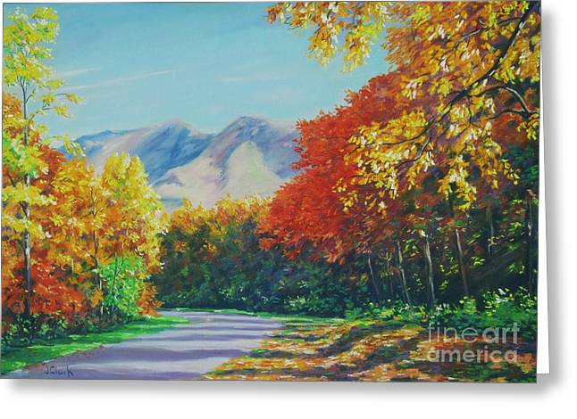 Fall Scene - Mountain Drive Greeting Card by John Clark