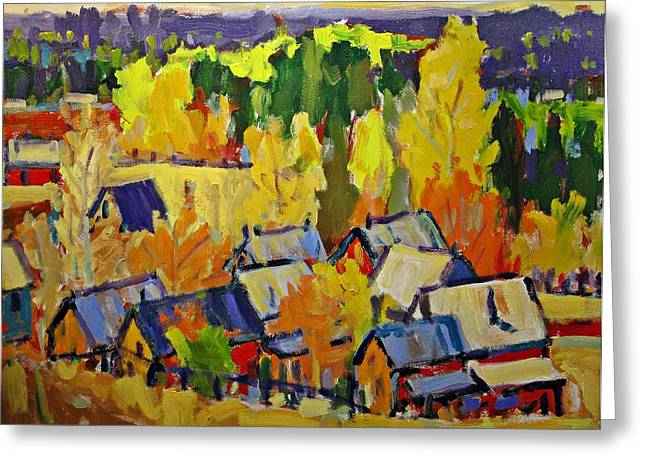 Fall Sheds Greeting Card by Brian Simons