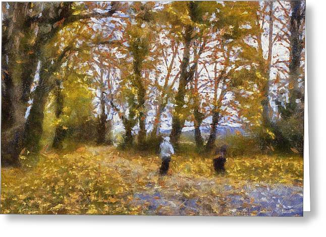 Fall Stroll Greeting Card by Barry Jones