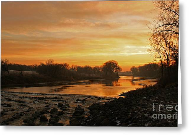 Fall Sunrise On The Red River Greeting Card by Steve Augustin