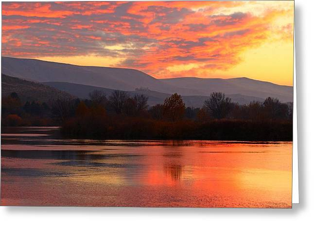Greeting Card featuring the photograph Fall Sunset by Lynn Hopwood