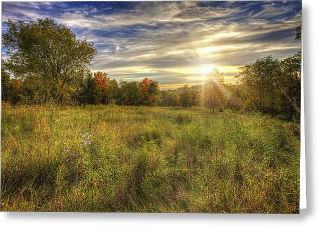 Fall Sunset Over Prairie - Retzer Nature Center - Waukesha Wisconsin Greeting Card by Jennifer Rondinelli Reilly - Fine Art Photography