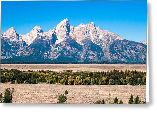 Fall Tetons Panorama   Greeting Card by Lars Lentz
