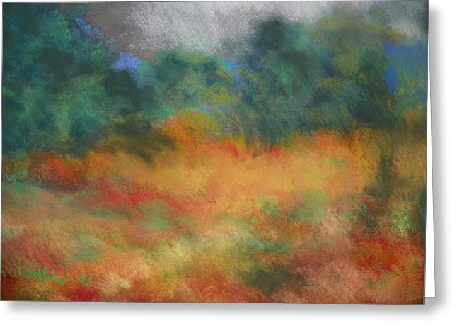 Fall Tonal Landscape Greeting Card by Shirley Moravec