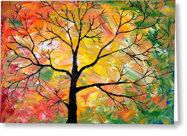 Fall Tree Greeting Card by Cevin Cox