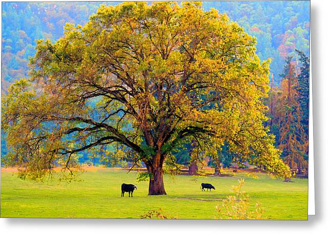Fall Tree With Two Cows Greeting Card
