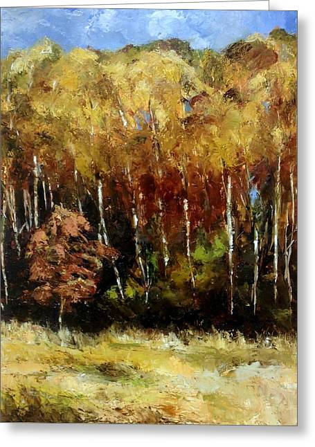 Fall Trees Three Greeting Card by Lindsay Frost