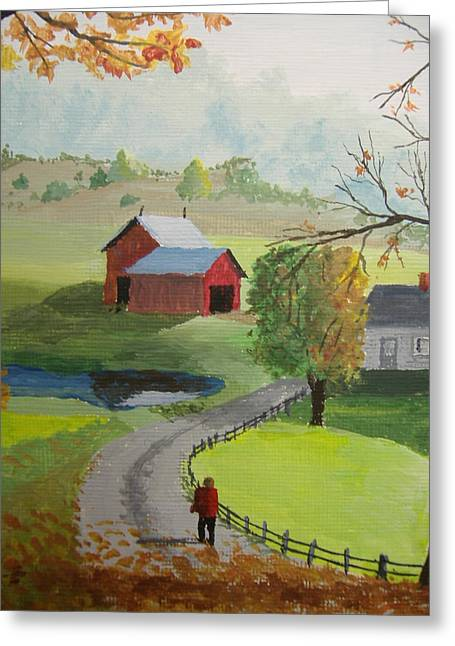 Greeting Card featuring the painting Fall Walk by Norm Starks