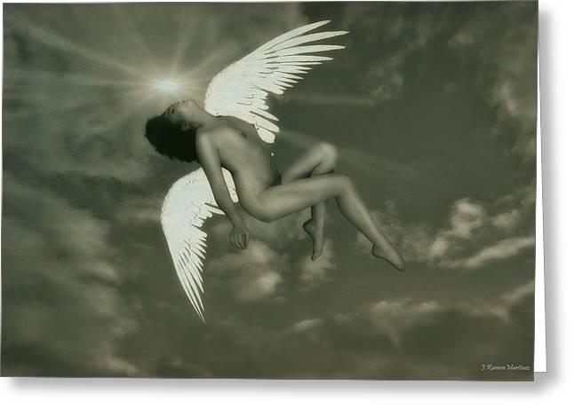 Fallen Angel Greeting Card by Ramon Martinez