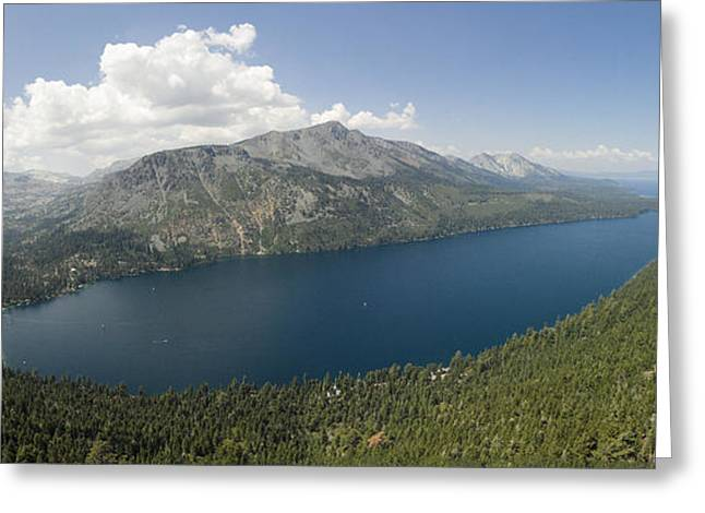 Fallen Leaf Lake Panorama Greeting Card by David Levy