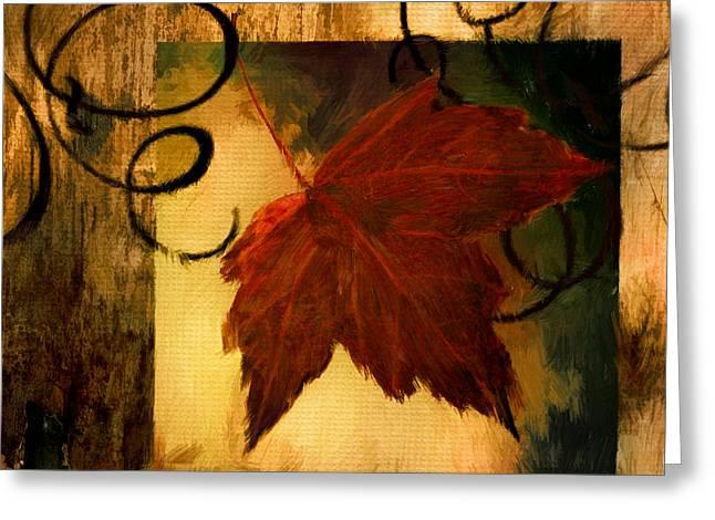 Fallen Leaf Greeting Card by Lourry Legarde